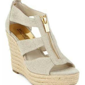 MICHAEL KORS Damita Beige Platform Wedge Shoes 9.5